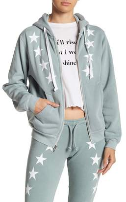 Wildfox Couture Cosmos Star Print Front Zip Jacket