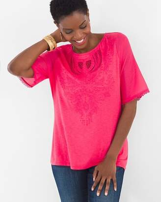 Chico's Chicos Embroidered Flutter Top