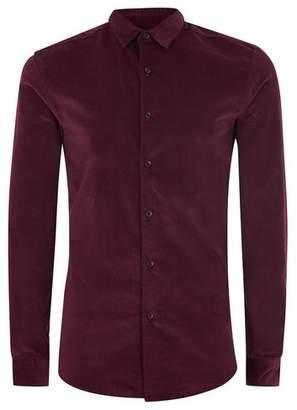 Topman Mens Red Burgundy Corduroy Muscle Long Sleeve Shirt