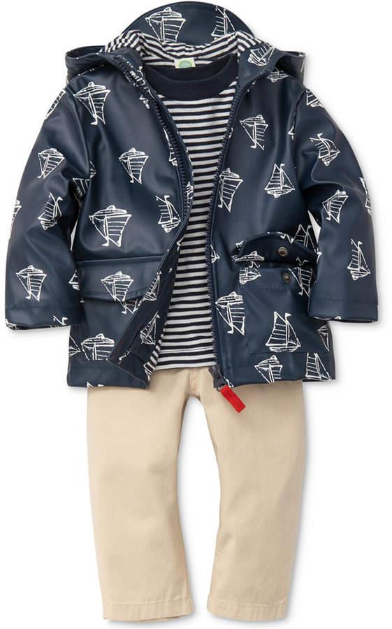 3-Pc. Hooded Boat-Print Jacket, Striped T-Shirt & Pants Set, Baby Boys