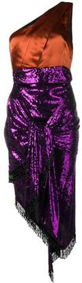 Christian Pellizzari one shoulder sequinned dress