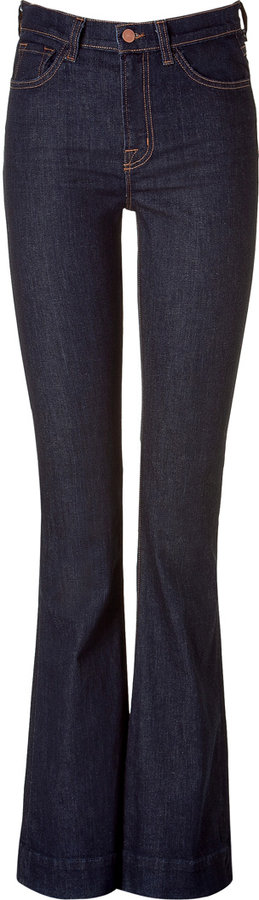 J Brand The Bianca Dark Blue High Rise Skinny Flared Jeans