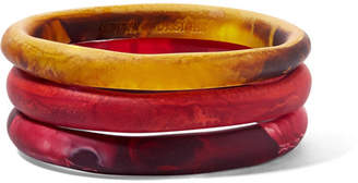 Dinosaur Designs Wishbone Set Of Three Resin Bangles - Orange