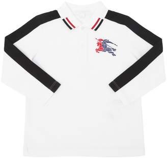 Burberry Cotton Piqué Long Sleeve Polo Shirt