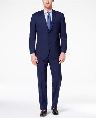 Andrew Marc Men's Classic-Fit Stretch Dark Blue Plaid Suit