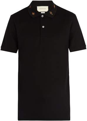 Gucci Embroidered-collar stretch-cotton polo shirt