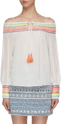 Alice + Olivia 'Sharyl' tassel tie rainbow stripe off-shoulder peasant blouse