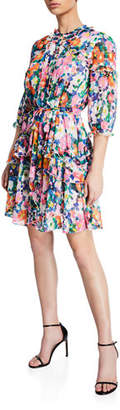 Saloni Tilly 3/4-Sleeve Ruffle Shirtdress