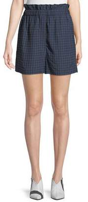 Tibi Gingham-Print Ruffle Pull-On Shorts