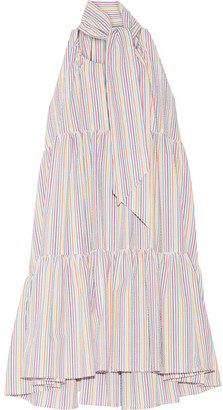 Lisa Marie Fernandez - Tiered Striped Seersucker Mini Dress - White $440 thestylecure.com
