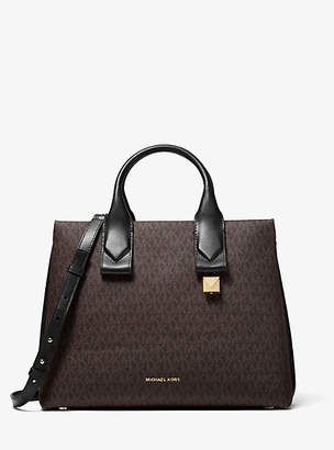 Michael Kors Rollins Large Logo And Leather Satchel