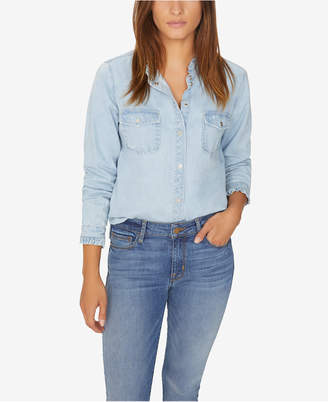 Sanctuary Cotton Ruffled-Trim Denim Shirt