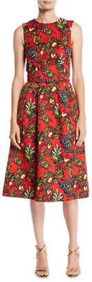 Oscar de la Renta Sleeveless Jewel-Neck 2-Pocket Fit-and-Flare Floral-Embroidered Day Dress