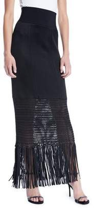 Galvan Vesper High-Shine Knit Jersey Long Skirt w/ Fringe Hem