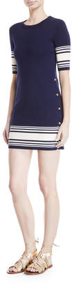 Ralph Lauren Striped Button-Trim Half-Sleeve Dress