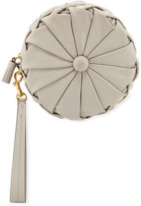 Anya Hindmarch Pillow Round Napa Clutch Bag, Light Gray