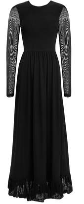 Ganni Dot Mesh Sheer Sleeve Maxi Dress