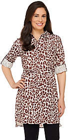 Dennis Basso Animal Print Button Down WovenTunic with Belt