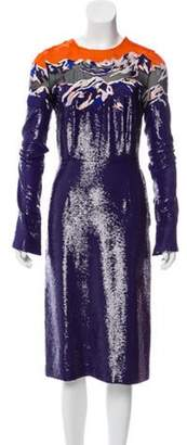 Emilio Pucci Silk Sequined Dress w/ Tags Indigo Silk Sequined Dress w/ Tags
