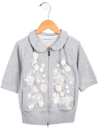 Simonetta Kids Girls' Three-Quarter Sleeve Embellished Cardigan