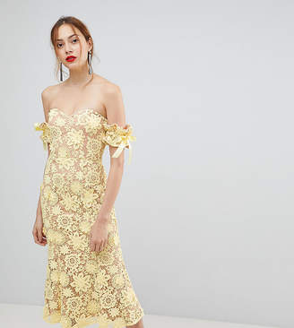 Bardot Jarlo Tall All Over Cutwork Lace Midi Dress With Tie Sleeve Detail