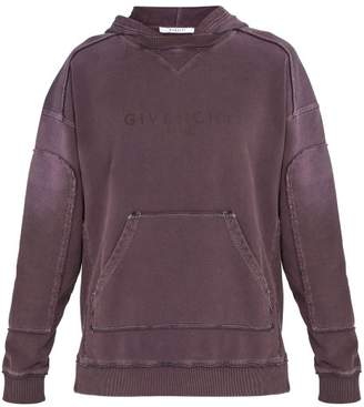 Givenchy Logo Print Cotton Hooded Sweatshirt - Mens - Purple