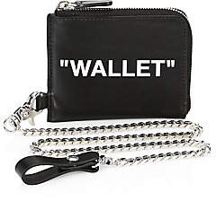 Off-White Men's Quote Leather Chain Wallet