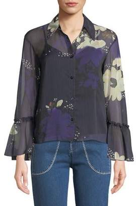 See by Chloe Floral-Print Chiffon Flutter-Sleeve Top