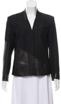 Helmut Lang Leather-Trimmed Long Sleeve Blazer