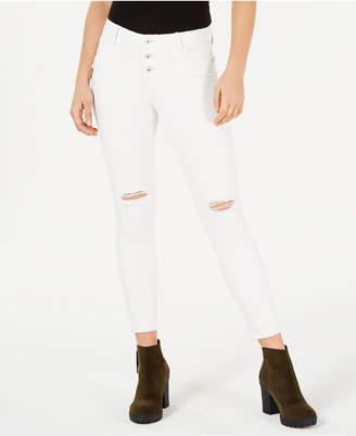 Vanilla Star Juniors' Ripped White Skinny Jeans