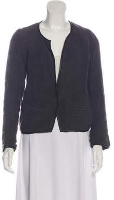 Isabel Marant Leather-Trimmed Linen Cardigan Grey Leather-Trimmed Linen Cardigan