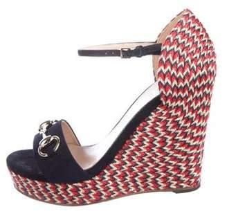 Gucci Horsebit Wedge Sandals