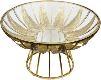 N. Sagebrook Home Gold-Tone Leaf Glass Table
