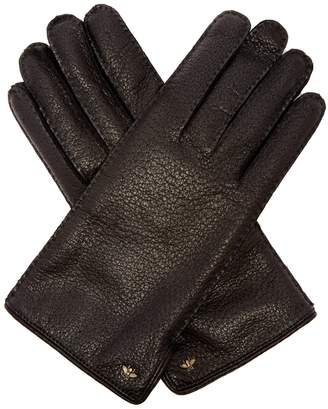 Gucci Bee-embellished grained leather gloves