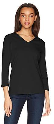 Pendleton Women's Three Quarter Sleeve V-Neck Rib Tee