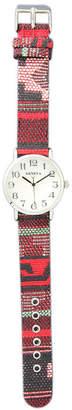 MOP OLIVIA PRATT Olivia Pratt Womens Silver-Tone Faux Dial Red-Grey Patterned Fabric Strap Watch 10352Tr