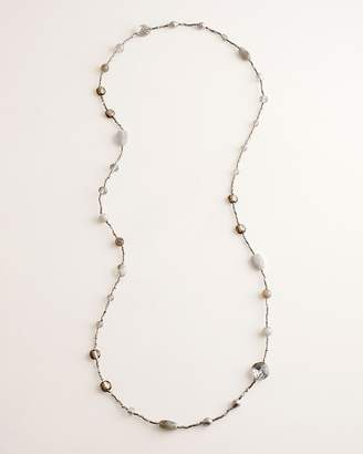 Chico's Chicos Gray and Neutral Beaded Single-Strand Necklace