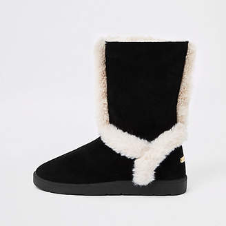 River Island Black suede fur lined boots