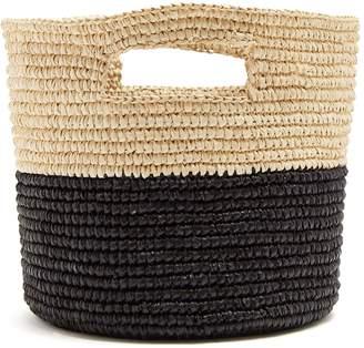 SENSI STUDIO Bi-colour toquilla-straw basket bag