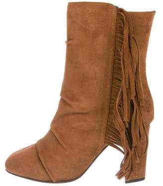 Giuseppe Zanotti Fringe-Trimmed Suede Boots w/ Tags