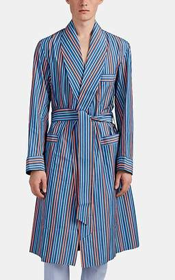 Barneys New York Men's Striped Cotton End-On-End Robe - Blue