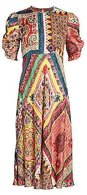 Etro Women's Mosaic Tile-Print Puff-Sleeve Midi Dress