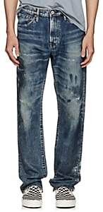 Edwin Men's Distressed Straight Jeans-Blue