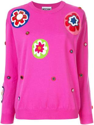 Moschino floral appliqué sweater