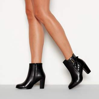 Faith - Black Quilted Leather 'Brooksie' High Block Heel Ankle Boots
