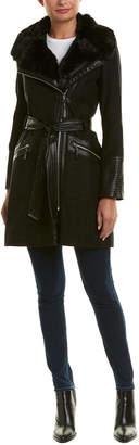 Via Spiga Herringbone Wool-Blend Coat