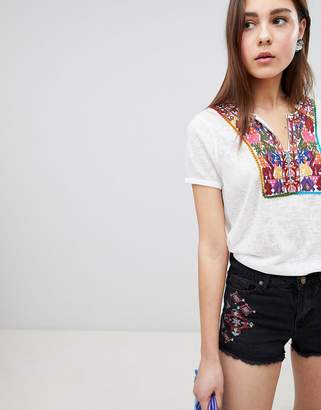 Brave Soul Bianca Top with Embroidered Placket