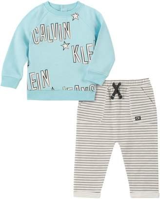 Calvin Klein Baby Boy's 2-Piece French Terry Sweatshirt Jersey Pants Set