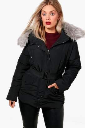 boohoo Plus Faux Fur Belted Padded Jacket