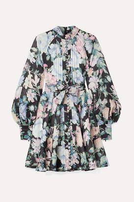 Zimmermann Verity Roulou Belted Floral-print Linen Dress - Sky blue